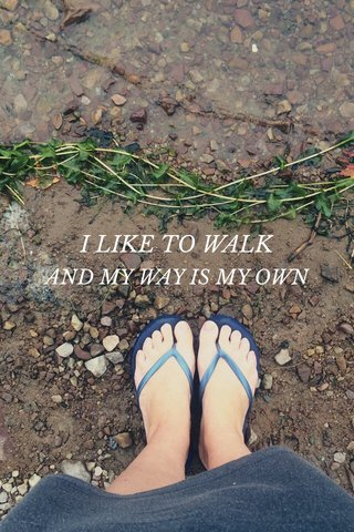 I LIKE TO WALK AND MY WAY IS MY OWN
