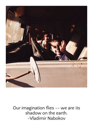 Our imagination flies -- we are its shadow on the earth. -Vladimir Nabokov
