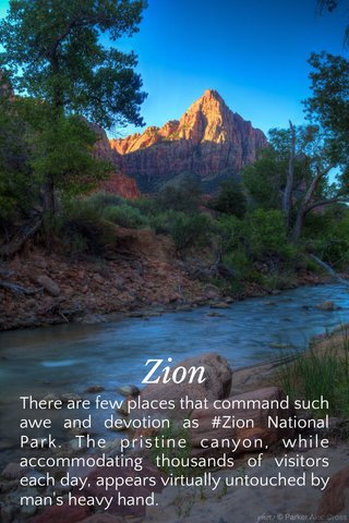 Zion There are few places that command such awe and devotion as #Zion National Park. The pristine canyon, while accommodating thousands of visitors each day, appears virtually untouched by man's heavy hand.