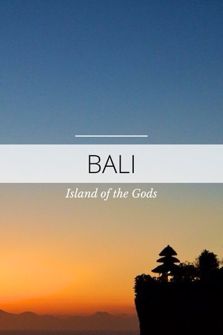BALI Island of the Gods