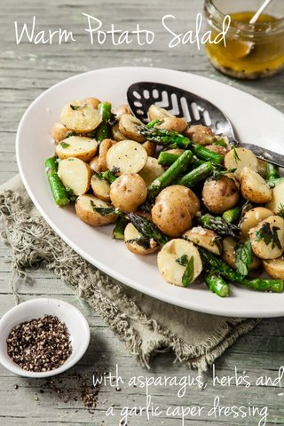 Warm Potato Salad with asparagus, herbs and a garlic caper dressing