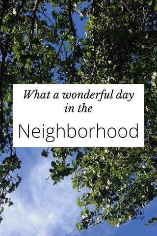 Neighborhood What a wonderful day in the
