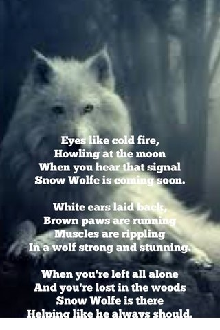 Eyes like cold fire, Howling at the moon When you hear that signal Snow Wolfe is coming soon. White ears laid back, Brown paws are running Muscles are rippling In a wolf strong and stunning. When you're left all alone And you're lost in the woods Snow Wolfe is there Helping like he always should.