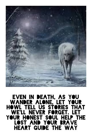 Even in death, as you wander alone, let your howl tell us stories that we'll never forget. Let your honest soul help the lost and your brave heart guide the way