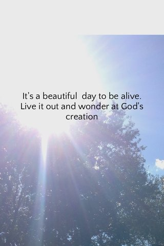 It's a beautiful day to be alive. Live it out and wonder at God's creation