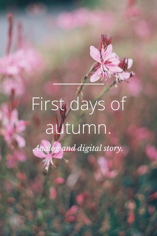 First days of autumn. Analog and digital story.
