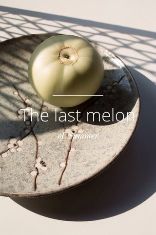 The last melon of Summer