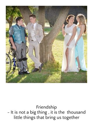 Friendship - It is not a big thing , it is the thousand little things that bring us together