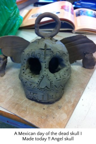 A Mexican day of the dead skull I Made today !! Angel skull