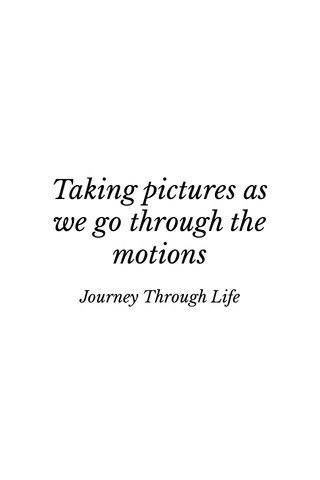 Taking pictures as we go through the motions Journey Through Life