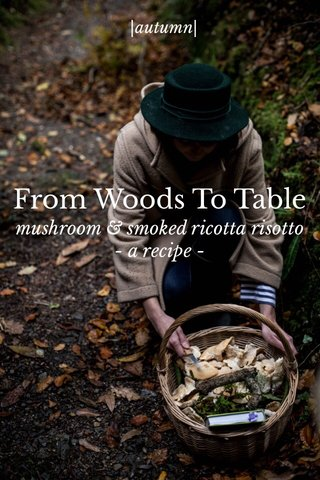 From Woods To Table mushroom & smoked ricotta risotto - a recipe - |autumn|