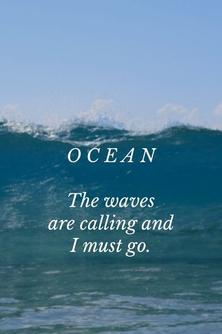 O C E A N The waves are calling and I must go.