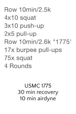 USMC 1775 30 min recovery 10 min airdyne