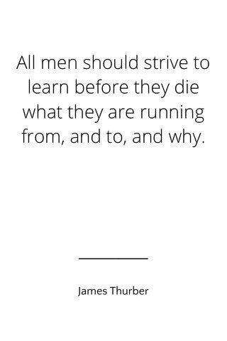 All men should strive to learn before they die what they are running from, and to, and why. James Thurber