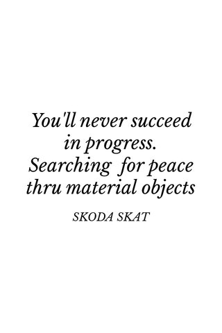 You'll never succeed in progress. Searching for peace thru material objects SKODA SKAT