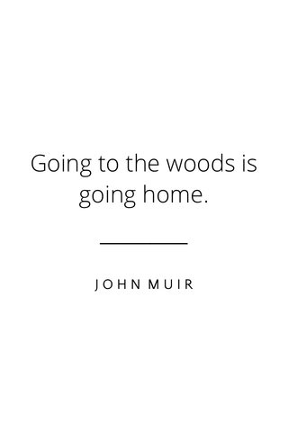 Going to the woods is going home. JOHN MUIR