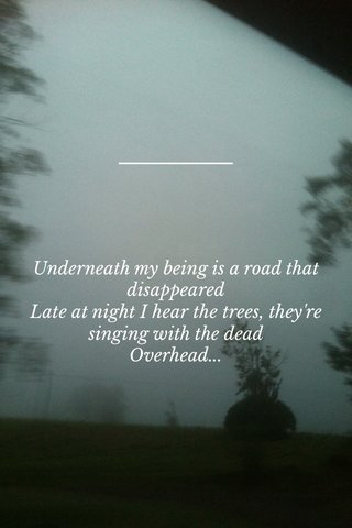 Underneath my being is a road that disappeared Late at night I hear the trees, they're singing with the dead Overhead...
