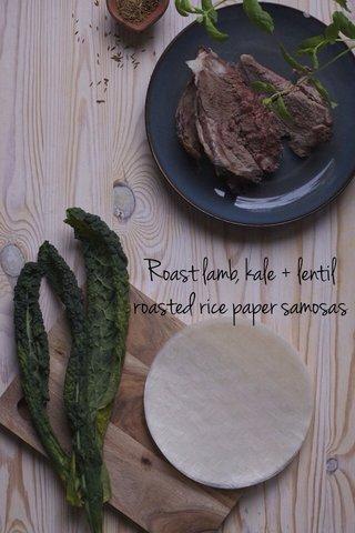 Roast lamb, kale + lentil roasted rice paper samosas