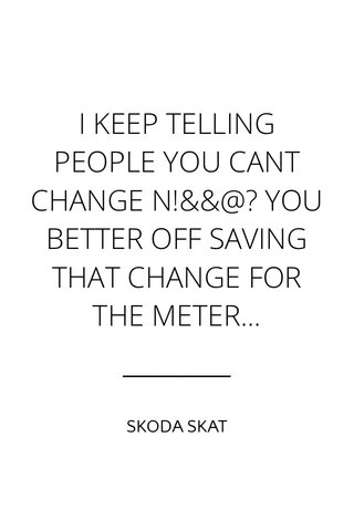 I KEEP TELLING PEOPLE YOU CANT CHANGE N!&&@? YOU BETTER OFF SAVING THAT CHANGE FOR THE METER... SKODA SKAT