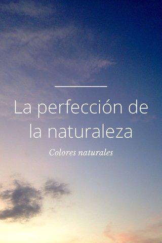 La perfección de la naturaleza Colores naturales