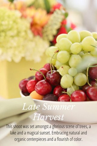 Late Summer Harvest This shoot was set amongst a glorious scene of trees, a lake and a magical sunset. Embracing natural and organic centerpieces and a flourish of color.