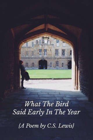 What The Bird Said Early In The Year {A Poem by C.S. Lewis}