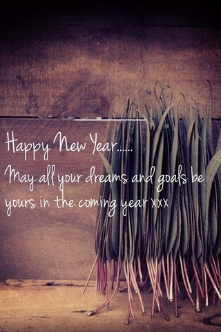 Happy New Year...... May all your dreams and goals be yours in the coming year xxx