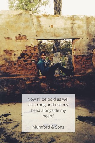 """Now I'll be bold as well as strong and use my head alongside my heart"""" Mumford & Sons"""