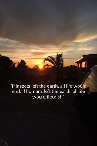 """""""If insects left the earth, all life would end. If humans left the earth, all life would flourish."""""""