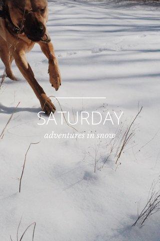 SATURDAY adventures in snow