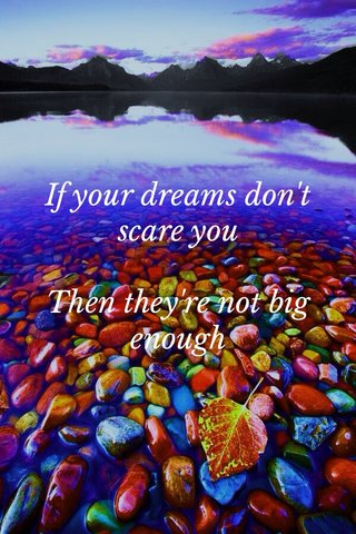 If your dreams don't scare you Then they're not big enough