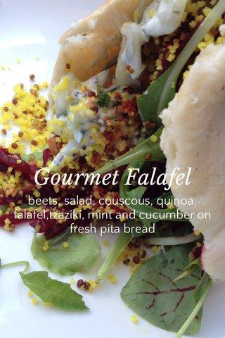 Gourmet Falafel beets, salad, couscous, quinoa, falafel,tzaziki, mint and cucumber on fresh pita bread