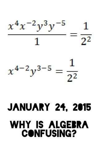 January 24, 2015 Why is algebra confusing?