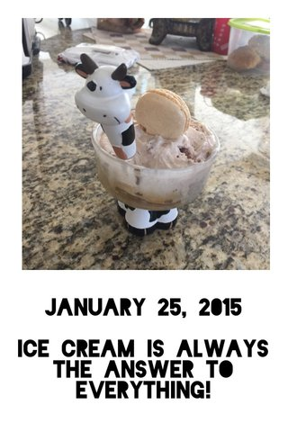 January 25, 2015 Ice cream is always the answer to everything!