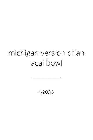 michigan version of an acai bowl 1/20/15