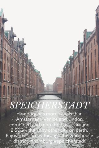 SPEICHERSTADT Hamburg has more canals than Amsterdam, Venice and Lindon combined and more bridges - around 2,500 - than any other city on earth. Enjoy my journey through the warehouse district. #hamburg #speicherstadt