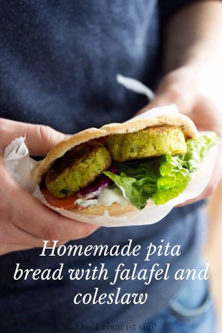 Homemade pita bread with falafel and coleslaw