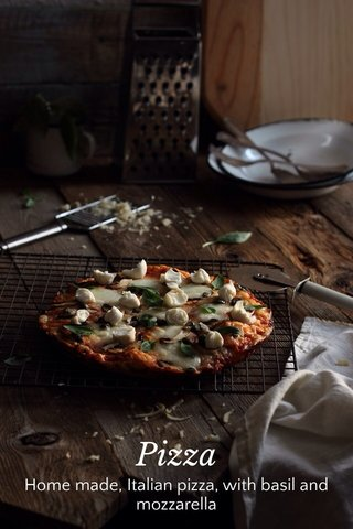 Pizza Home made, Italian pizza, with basil and mozzarella