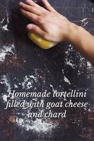 Homemade tortellini filled with goat cheese and chard