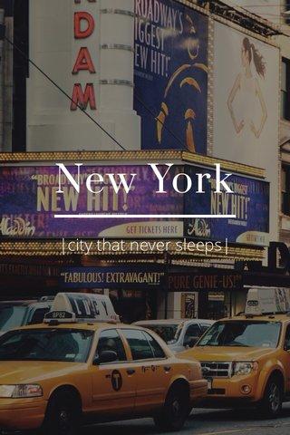 New York |city that never sleeps|