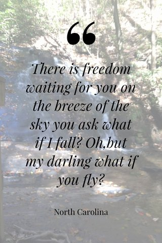 There is freedom waiting for you on the breeze of the sky you ask what if I fall? Oh,but my darling what if you fly? North Carolina