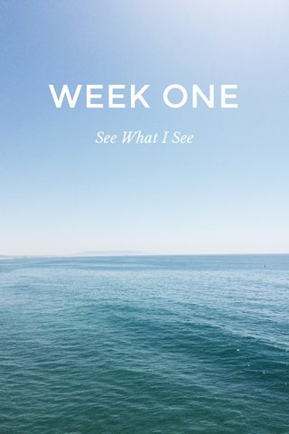 WEEK ONE See What I See