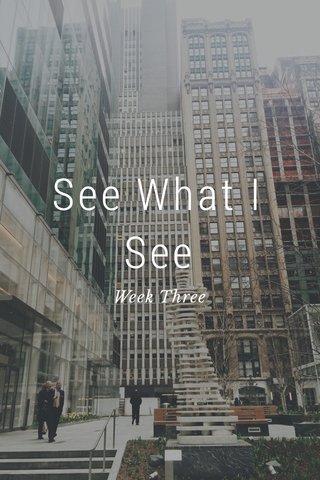 See What I See Week Three