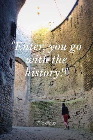 """Enter, you go with the history!"" @loxilaux"