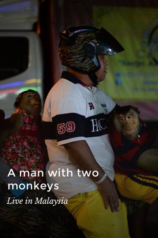 A man with two monkeys Live in Malaysia