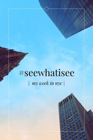 #seewhatisee | my week in nyc |