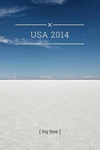 USA 2014 { my love }