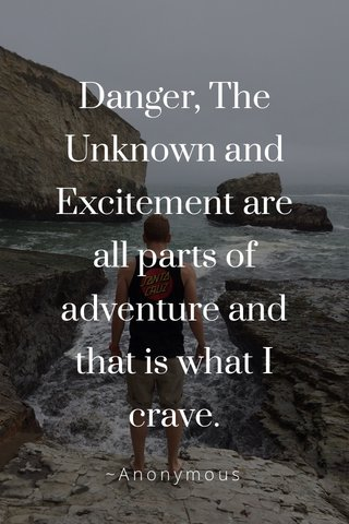 Danger, The Unknown and Excitement are all parts of adventure and that is what I crave. ~Anonymous