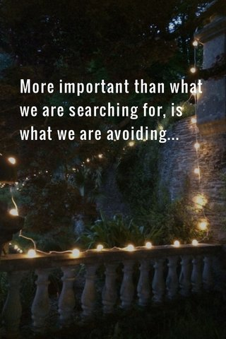 More important than what we are searching for, is what we are avoiding...