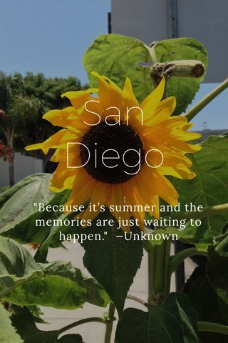 """San Diego """"Because it's summer and the memories are just waiting to happen."""" —Unknown"""